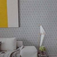 papel tapiz moderno en color gris para salas